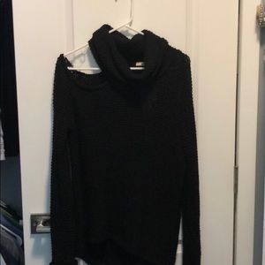 Cowl neck sweater with one cold shoulder